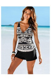 Western V-Neck Top Boxer Bottom Tankini Set