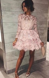 A-line High Neck Long Sleeve Sash Ribbon Tiers Short Mini Lace Homecoming Dress