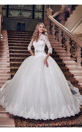 Elegant Tulle Lace Appliques 2018 Wedding Dress Ball Gown 3 4-Length Sleeve