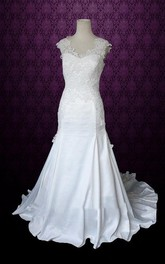 Sleeveless Sheath Long Satin Wedding Dress With Appliques And Jewel Neck