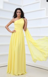 A-Line Empire Asymmetrical One-Shoulder Vintage Gown With Pleats