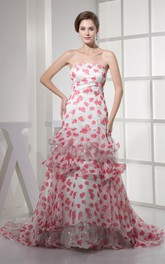 Floral Strapless A-Line Gown with Sequins and Peplum