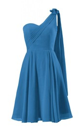 One-shoulder Knee-length Pleated Chiffon Dress With Drapped Sleeve