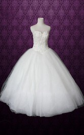 Sweetheart Drop Waist Long Tulle Wedding Dress With Button Back