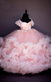 Floral Sweetheart Cap-Sleeve Tier Ball Gown Flower Girl Dress