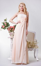 Strapless A-line Long Chiffon and Lace Dress With Bow