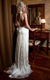 High Neck Sleeveless Lace Pleated Split Front Backless Wedding Dress