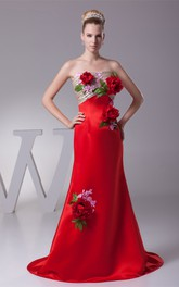 Floral Strapless Ruched Mermaid Satin Gown with Appliques