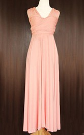 Peach Bridesmaid Convertible Wrap Full Length Dress