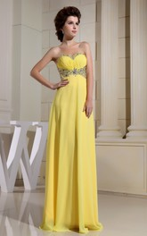 Sweetheart Floor-Length Sheath Dress With Beaded Top