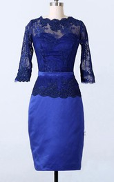 Sheath Knee-length Long Sleeve Lace&Satin Dress