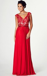 Appliqued V-Neck Cap Sleeve Jersey Prom Dress