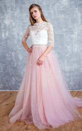 Jewel-Neck Half Sleeve Appliqued Tulle A-Line Wedding Dress With Beaded Waist