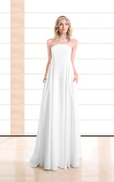 Strapless A-Line Satin Wedding Dress With Pleats