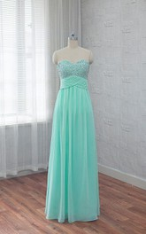 Sweetheart A-line Chiffon Wedding Dress With Beading And PLeats