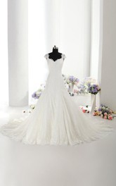 Beautiful Lace Mermaid Wedding Dress With Cap Sleeves Made to Order