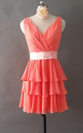 Short Chiffon Dress With Low-V Back