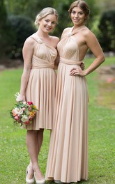 Knee-Length Sleeveless Ruched Strapped Chiffon Bridesmaid Dress With Draping