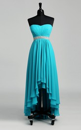 Sweetheart Beaded Waist High Low Chiffon Maternity Dress