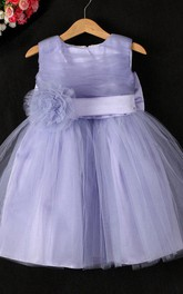 Ruched Sleeveless Pleated Tulle Dress With Flower Belt