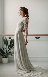 Elegant Lace and ChiffonV-neck Deep-V Back Wedding Dress with Ruching