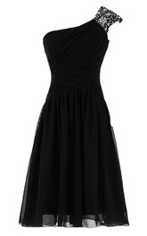 Classic One Shoulder Ruched Chiffon Short Dress With Sequined Short Sleeve
