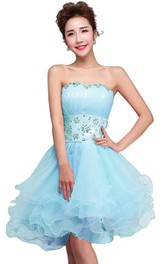 Strapless Short Dress With Ruffles and Beadings
