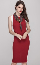 Red Paneled SleevelessJewel Neck Sheath Dress