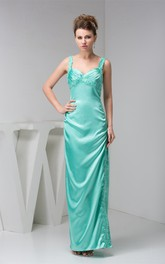 Ankle-Length Front-Split Satin Dress with Stress and Beading