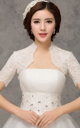 New Western Style Fashion Short-sleeved Lace White Vest