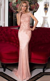 Pencil Floor-Length Bateau Sleeveless Lace Appliques Sweep Brush Train Low-V Back Dress