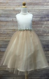 Sleeveless Jewel Neck Beaded Tulle Dress With Satin Bodice
