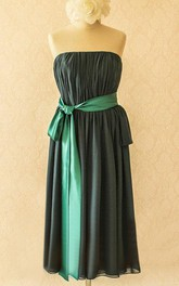 Knee-length Strapless Chiffon&Satin Dress