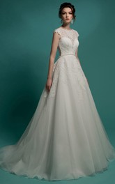 A-Line Floor-Length Jewel-Neck Cap-Sleeve Illusion Organza Dress With Appliques And Beading