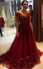 Glamorous Off-the-Shoulder Burgundy A-Line Prom Dresses 2018 Tulle Appliques
