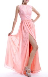Floor-length Chiffon&Lace&Satin Dress