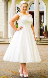 Scalloped Scoop Neck Tea Length Tulle Bridal Gown With Pearl Lace Top