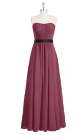 A-Line Strapless Chiffon Long Dress With Pleated Bodice