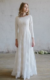 Modest Lace Scoop-neck Wedding Dress with Applique