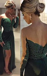 Elegant Long Sleeve Green 2018 Evening Dresses Skirt Long Lace Appliques