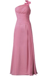 One-shoulder Ruched Chiffon A-line Gown With Bow