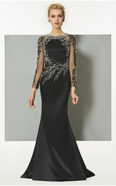 Elegant Illusion Long Sleeve Scoop Mermaid Gown With Appliques