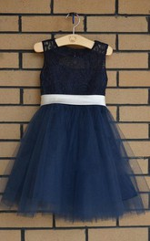 Lace Strap Scoop Neck Tulle Dress With Bow Sash