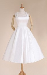 Halter Empire Tea-Length Satin Wedding Dress With Sash And Lace-Up Back