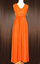 Maxi Orange Bridesmaid Convertible Wrap Full Length Wedding Cocktail Dress