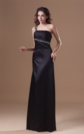 satin maxi single-strap dress with keyhole back and beading