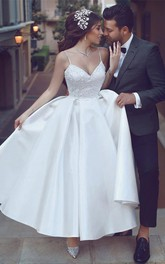 Simple Satin A-line Spaghetti Ankle Length Bridal Gown
