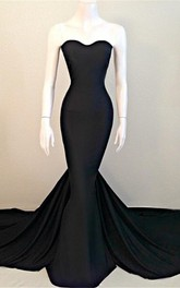 Sexy Mermaid Black Sweetheart Evening Dress 2018 Sleeveless Sweep Train