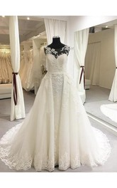 Backless Lace Brush Train Appliques Scoop-Neck Romantic Wedding Dress With Pleats