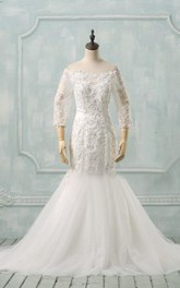Off-The-Shoulder Mermaid Tulle Wedding Dress With Appliques And Illusion Sleeve